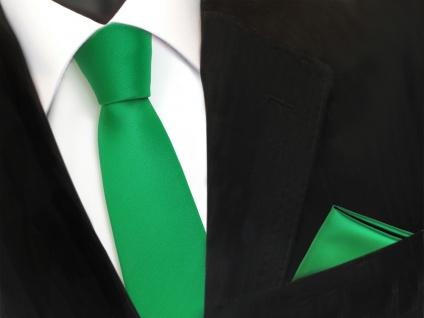 schmale TigerTie Schlips Krawatte + Einstecktuch grün leuchtgrün uni Binder Tie