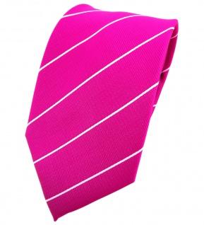 TigerTie Krawatte magenta fuchsia silber gestreift - Binder Tie