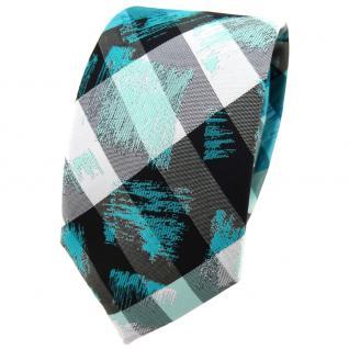 Schmale TigerTie Krawatte türkis grau silber schwarz gestreift - Schlips Binder