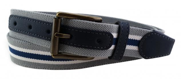 TigerTie - Stretchgürtel grau silber blau weiß gestreift - Bundweite 100 cm