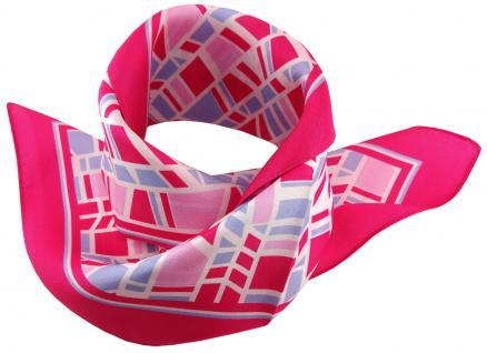 TigerTie Seiden Nickituch Satin in pink blau rosa weiss gemustert - 100% Seide - Vorschau 2