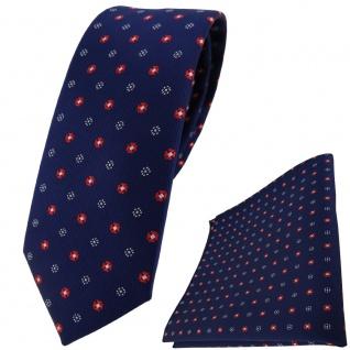 schmale TigerTie Krawatte + Einstecktuch marine dunkelblau rot silber gepunktet