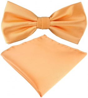 TigerTie Satin Fliege + Einstecktuch in lachs Uni einfarbig + Geschenkbox