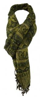 TigerTie Schal in grün gold schwarz gemustert mit Fransen - Gr. 180 x 70 cm