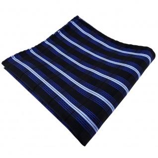 schönes Einstecktuch in blau kobalt hellblau schwarz gestreift - Tuch Polyester