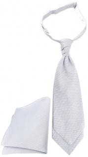 TigerTie Plastron Pique 2tlg Krawatte + Einstecktuch in hellgrau-weiß gemustert