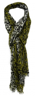 TigerTie Schal in oliv schwarz creme gemustert mit Fransen - Gr. 180 x 50 cm