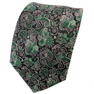 TigerTie Seidenkrawatte smaragdgrün silber schwarz paisley - Krawatte 100% Seide