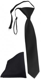 TigerTie Security Sicherheits Krawatte + Einstecktuch in schwarz einfarbig Uni