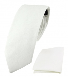 TigerTie Krawatte + Einstecktuch aus 100% Baumwolle in weiß Unicolor einfarbig