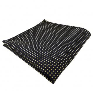 TigerTie Einstecktuch blau dunkelblau royal gold gepunktet - Tuch Polyester