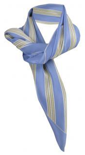 Satin Halstuch in blau beige weiß gestreift - 100% Seide - Gr. 90 x 90 cm