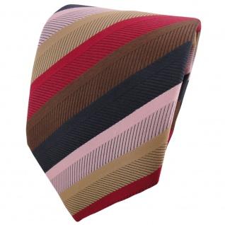 TigerTie Designer Krawatte rot braun gold rosa anthrazit gestreift - Binder Tie