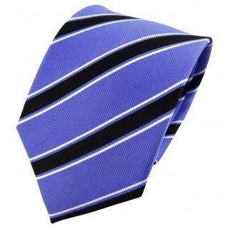 TigerTie Seidenkrawatte blau schwarz weiß gestreift - Krawatte Seide Binder Tie