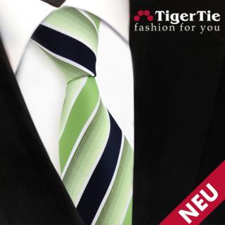 TigerTie Designer Krawatte grün hellgrün dunkelblau weiß gestreift - Binder Tie - Vorschau 3