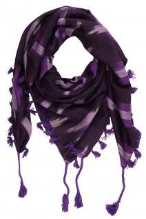 TigerTie Halstuch in lila violett silber gemustert mit Fransen - Gr. 95 x 95 cm