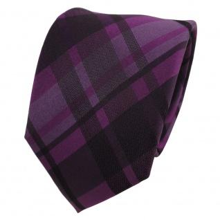 TigerTie Designer Seidenkrawatte lila violett anthrazit schwarz kariert
