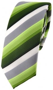 schmale TigerTie Designer Krawatte in grün dunkelgrün grau weiss gestreift