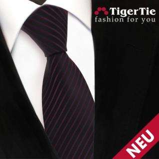 TigerTie Designer Satin Krawatte lila violett schwarz gestreift - Binder Tie