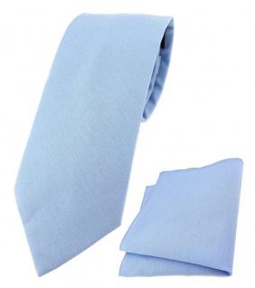 TigerTie Krawatte + Einstecktuch aus 100% Baumwolle hellblau Unicolor einfarbig