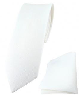 schmale TigerTie Krawatte + Einstecktuch aus 100% Baumwolle in weiß einfarbig