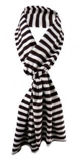 Damen Schal braun dunkelbraun creme gestreift Gr. 172 cm x 27 cm - Halstuch Tuch