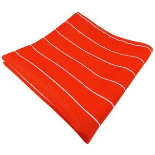 Einstecktuch orange leuchtorange neonorange silber gestreift - Tuch Polyester