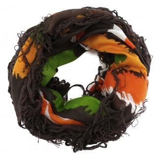 Halstuch in dunkelbraun grün orange weissgrau gemustert mit langen Fransen