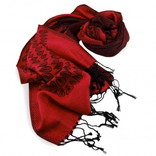 Schal in rot verkehrsrot schwarz gemustert Gr. 175x68 cm - 100% Viskose