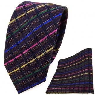 schmale TigerTie Krawatte + Einstecktuch in rosa blau grün schwarz gestreift