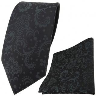 TigerTie Krawatte + TigerTie Einstecktuch in schwarz anthrazit gemustert