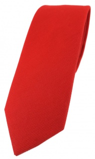 schmale TigerTie Krawatte in rot Uni - 100% Baumwolle - Krawattenbreite 6 cm