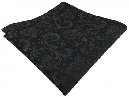 TigerTie Designer Einstecktuch schwarz anthrazit gemustert - Tuch 100% Polyester