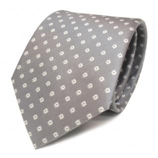 Schöne Designer Seidenkrawatte grau weiss gepunktet - Krawatte Seide Binder Tie