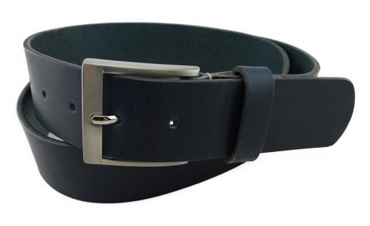 TigerTie - hochwertiger Ledergürtel schwarzblau - Bundweite 120 cm - 40 mm breit