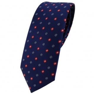schmale Designer TigerTie Krawatte in marine dunkelblau rot silber gepunktet