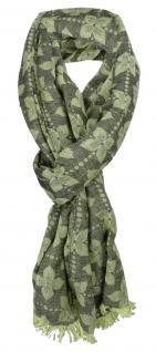 TigerTie Designer Schal in grün grau Blumenmuster - Gr. 180 x 50 cm