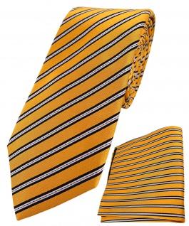 TigerTie - hochwertig konfektionierte Seidenkrawatte + Seideneinstecktuch in gold gelb schwarz silber gestreift