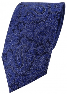 TigerTie Seidenkrawatte dunkeblau Paisley - Tie Krawatte 100% Seide Silk