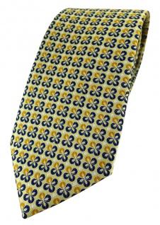 TigerTie Designer Krawatte in gelbgold silber marine gemustert