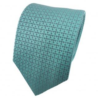 TigerTie Satin Seidenkrawatte türkis türkisblau grau gemustert - Krawatte Seide