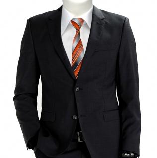 schmale TigerTie Krawatte orange anthrazit silber grau gestreift - Tie Binder - Vorschau 2