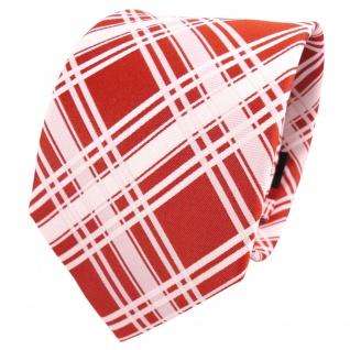 TigerTie Designer Seidenkrawatte orange reinorange weiß kariert - Krawatte Seide