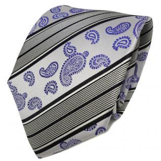 TigerTie Designer Seidenkrawatte blau silber royal weiß Paisley - Krawatte Seide
