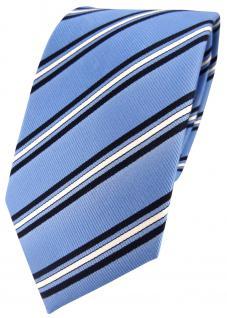 TigerTie Seidenkrawatte in blau hellblau weiss gestreift - Krawatte 100% Seide