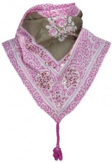 TigerTie Damen Halstuch Dreieckstuch rosa grau braun gemustert - Gr. 160 x 75 cm