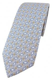 Enrico Sarto hochwertige Seidenkrawatte in silber blau grau gold beige gemustert