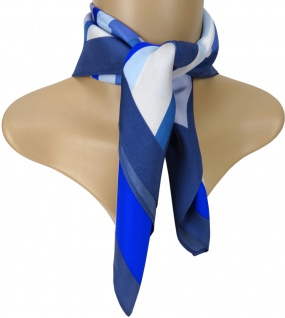 Satin Nickituch blau anthrazit beige silber gestreift - 100% Seide - 53 x 53 cm