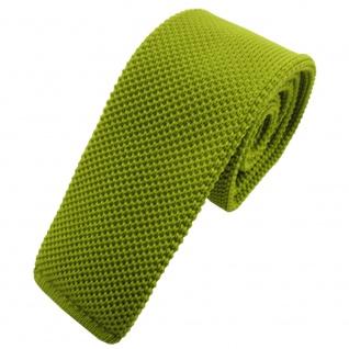 TigerTie - schmale Strickkrawatte grün lindgrün einfarbig uni
