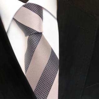 Designer Seidenkrawatte grau silber anthrazit gestreift - Krawatte Seide Silk